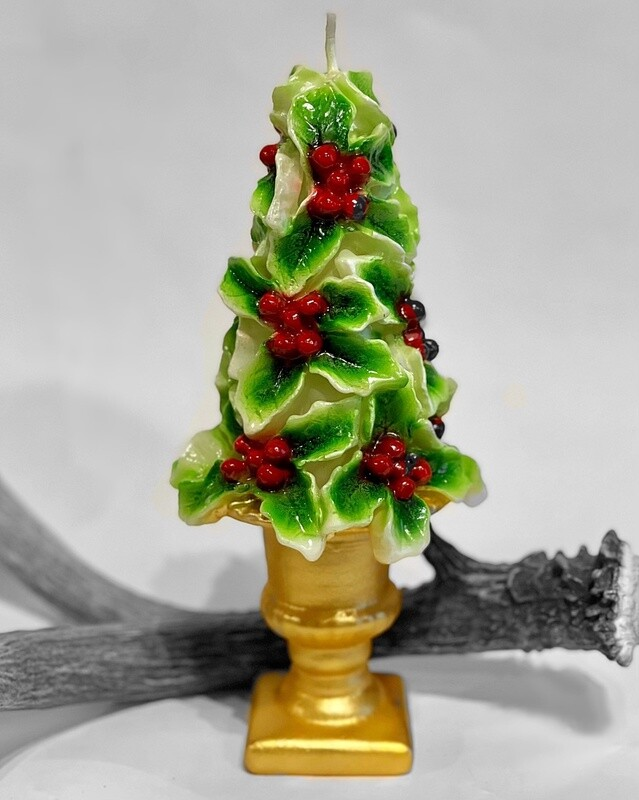 Holly Leaf Christmas Candle