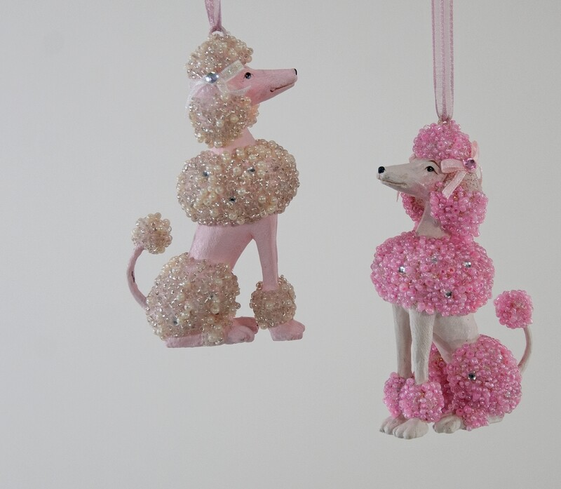 Pearl Encrusted Poodle Ornament