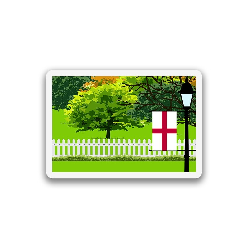 World Flag Trees Street Lamp Sticker