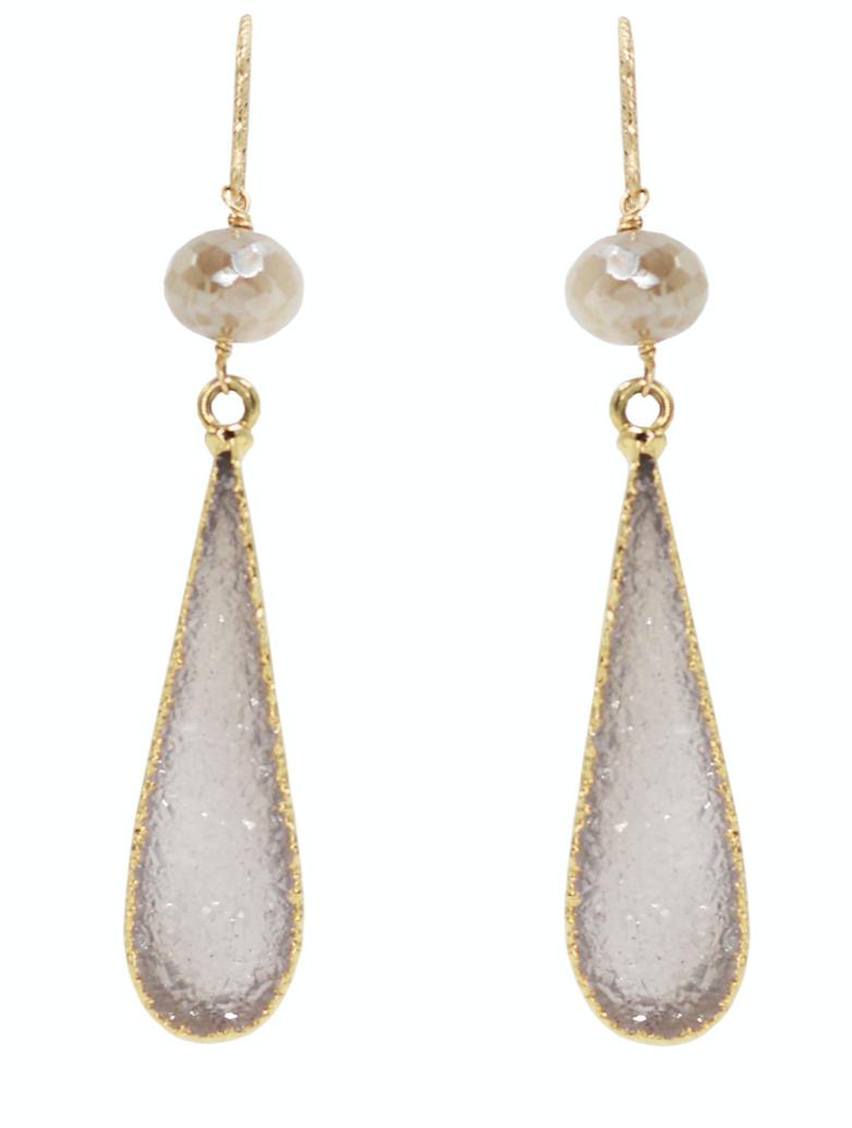 Kamaria Large Druzy Drop Earrings - Mystic Mauve Moonstone