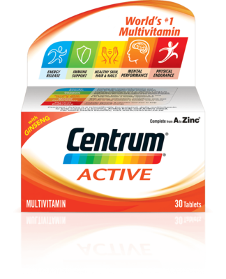 Centrum A-Z Active with Ginseng tablets 30's