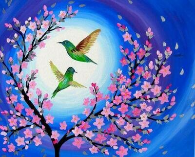 Hummingbirds in Cherry Blossom breeze