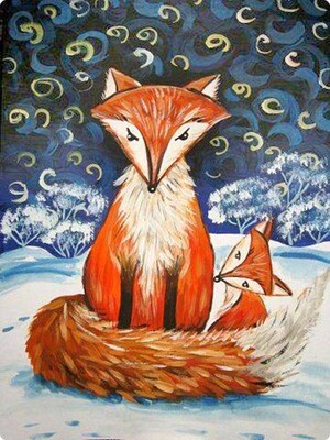 Winter foxes in snow