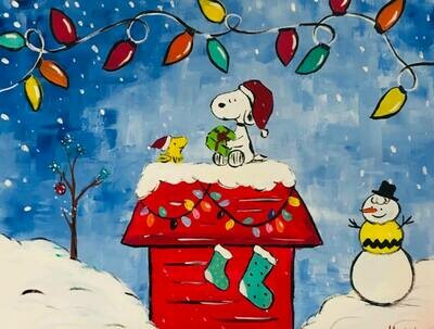 Snoopy & Woodstock decorating doghouse