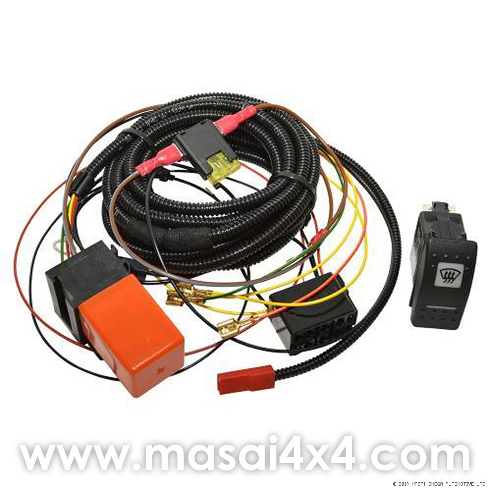 Heated Windscreen Wiring Kit with Switch for Land Rover Defender