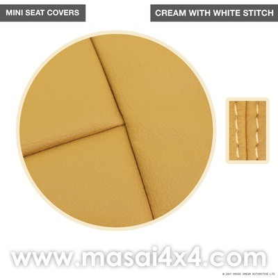 Classic Mini Replacement Seat Covers, Cream with White Stitch, Front and Rear