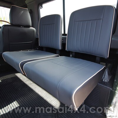 Inward Facing, Tip up Seat Cover for Land Rover Defender (89' - 07' Models) FLUTE style with Piping - PAIR
