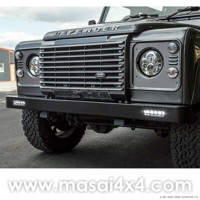 Defender Front Bumper with Rectangular LED DRLs - Zinc Coated - LR062058