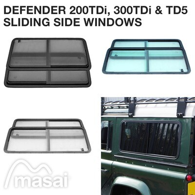 Sliding Side Windows for Defender 200TDi/300TDi and TD5 (3 Tints) - PAIR