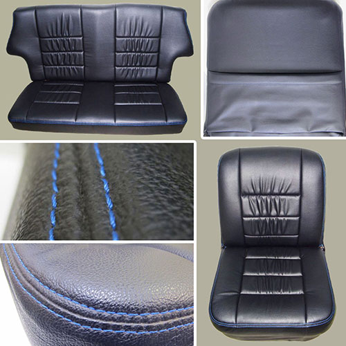 Classic Mini Replacement Seat Covers, Black with Blue Stitching, front and rear