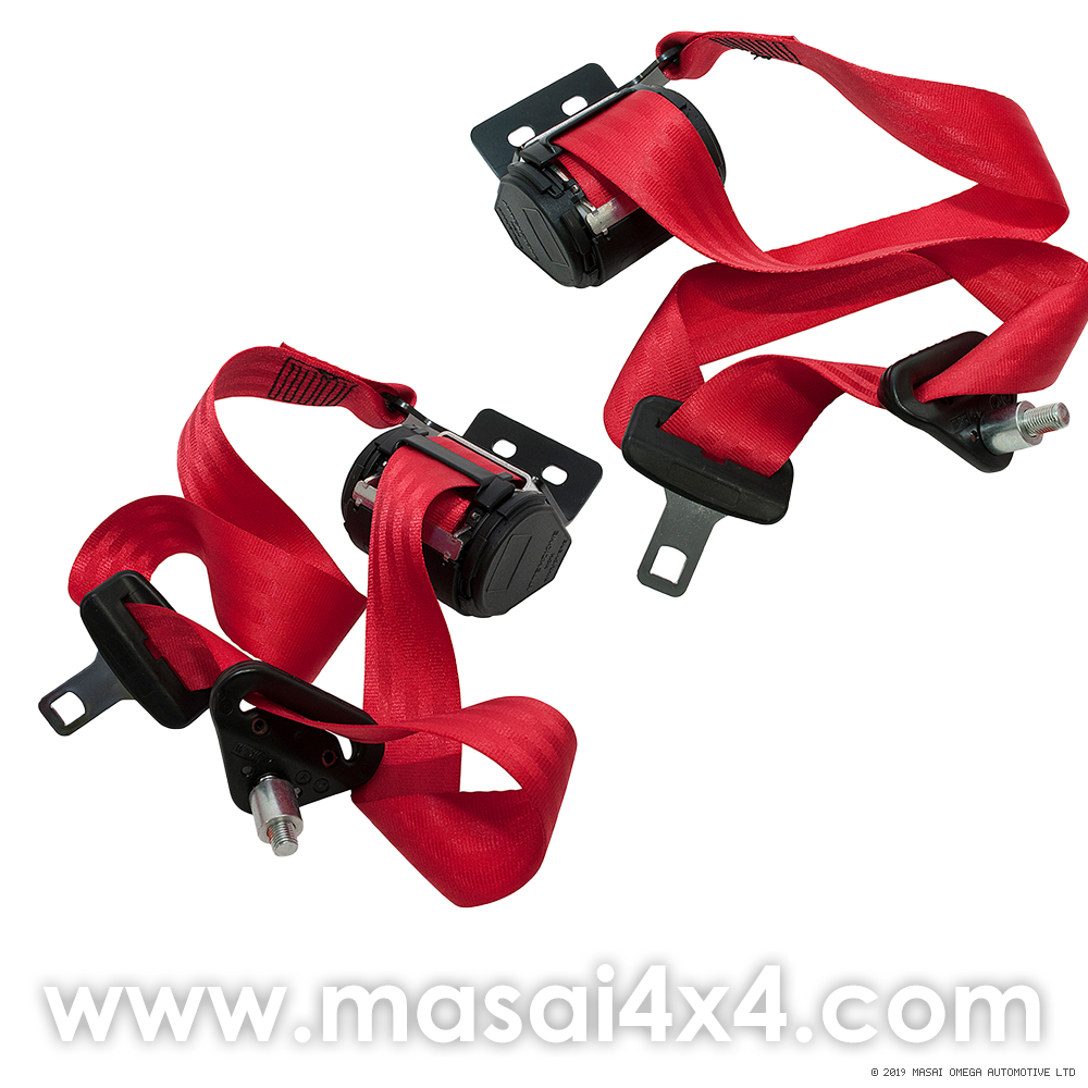 Front Seat Belt Set for Defender 90 & 110 Hard-top 2-doors (Red) (Equivalent to BTR6562 & BTR6561)