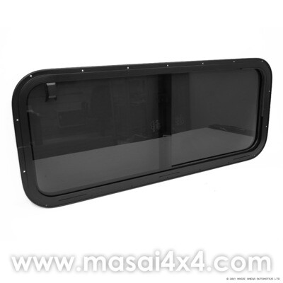 Side Sliding Window for Defender Crew Cabs (4mm Glass) - Dark Tint - LR044316 (Masai Style)