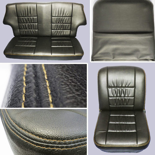 Classic Mini Replacement Seat Covers, Black with Cream Stitching, front and rear