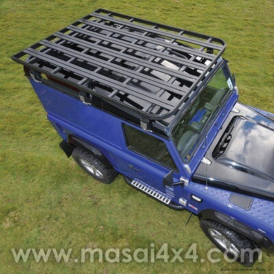 Aluminium Expedition Flat Roof Rack for Defender 90, Crew Cab and 110 (Black)