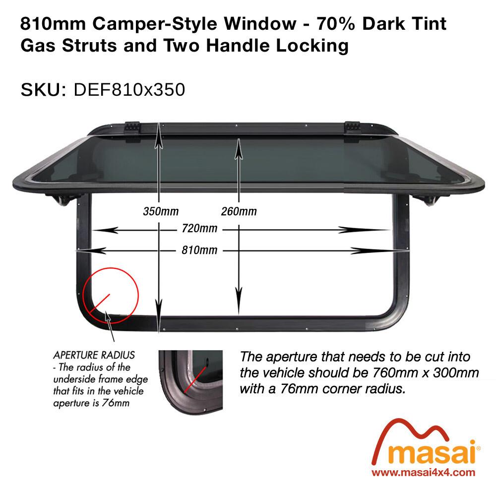810mm x 350mm Camper Style Side Window - 70% Dark Tint
