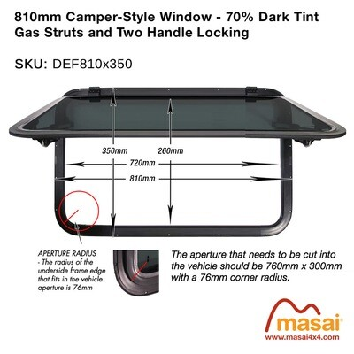 810mm x 350mm Camper Style Side Window - 70% Dark Tint