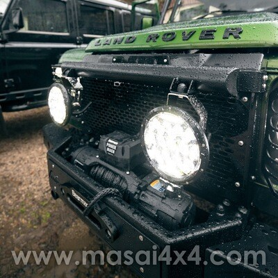 Grille Light Bar for Land Rover Defender - Black (Zinc Coated) - Fits Aircon & Non-Aircon