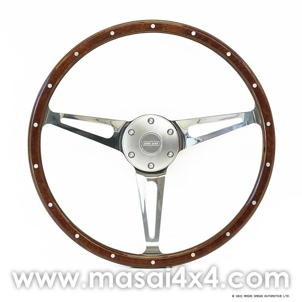 Evander Steering Wheel & Boss Kit - Wooden - Defender - 48 Spline (Chrome)