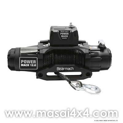 Power Mach 12,000lb 12v Two Speed Winch with 10mmx27m Synthetic Rope & Wireless Remote