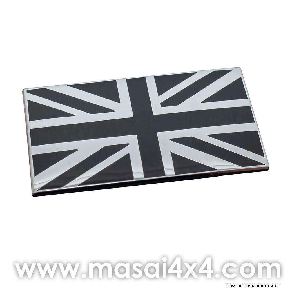 Self Adhesive Black & Chrome Union Jack Badge