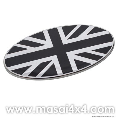 Self Adhesive Black & Chrome Union Jack Oval Badge (70mm x 37mm)