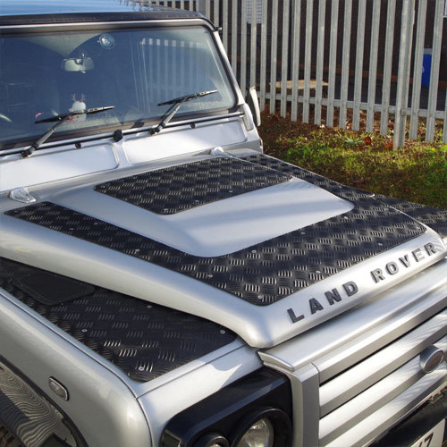 2 Piece 3mm Aluminium Chequer Plate Kit for Land Rover Defender Puma Bonnets