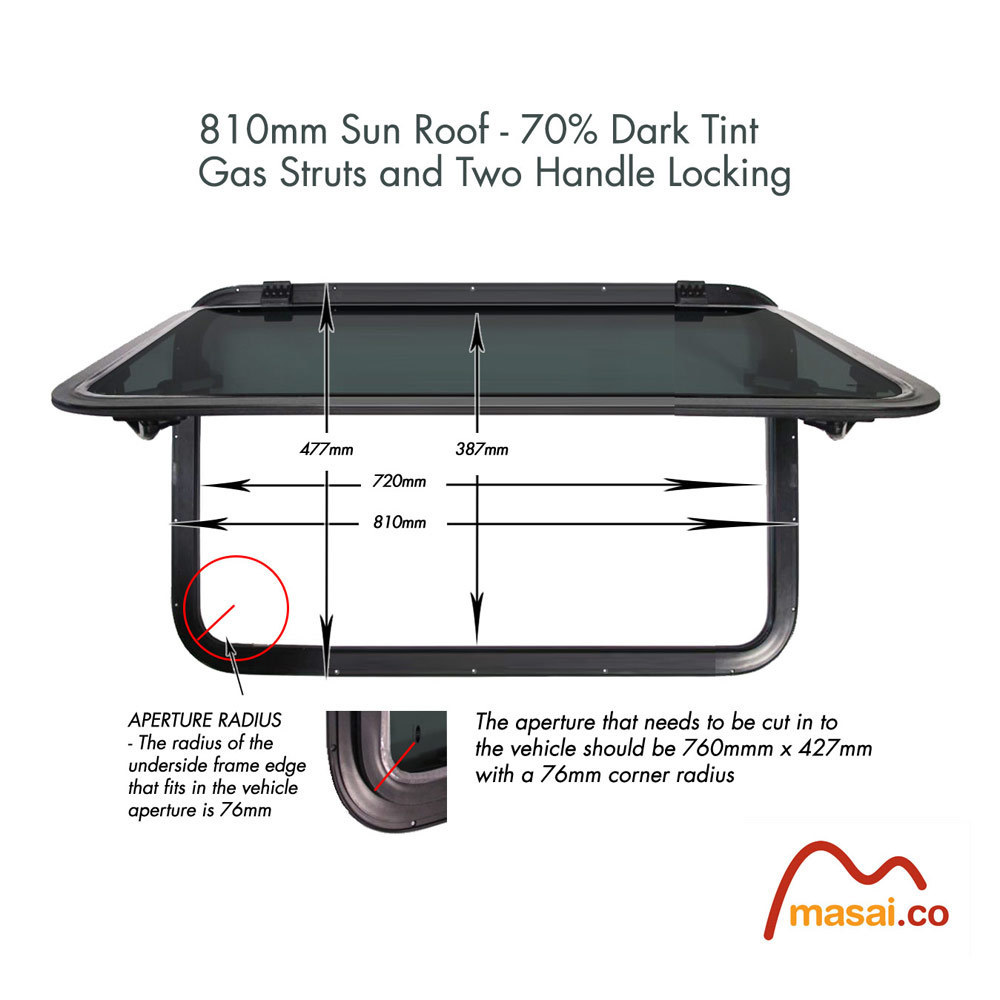 Sunroof - 810 x 477 mm - DARK tint