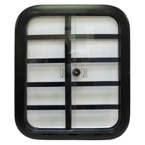 Side Windows - 14 x 18 inches, black with bars