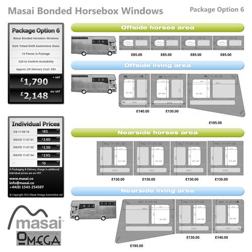 Option 6 Package - Tinted Bonded Horsebox Windows