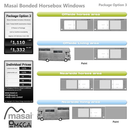 Option 3 Package - Tinted Bonded Horsebox Windows
