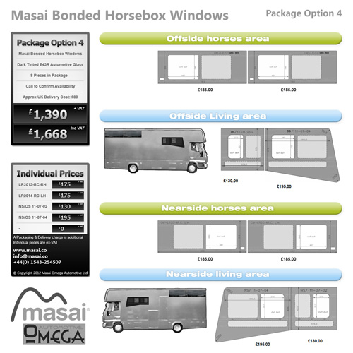 Option 4 Package - Tinted Bonded Horsebox Windows
