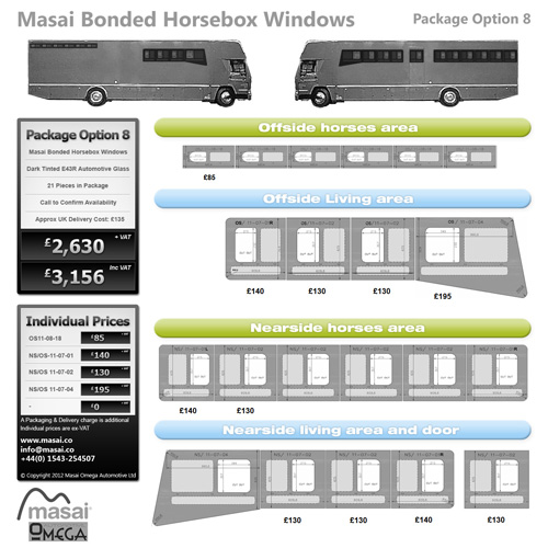 Option 8 Package - Tinted Bonded Horsebox Windows