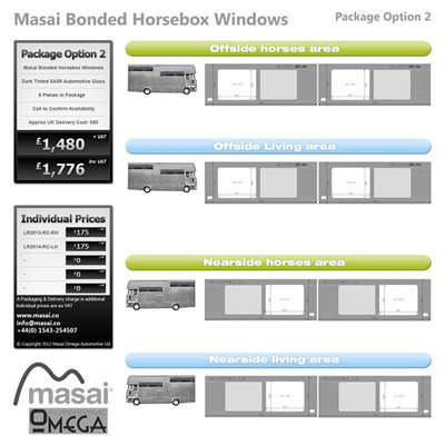 Option 2 Package - Tinted Bonded Horsebox Windows