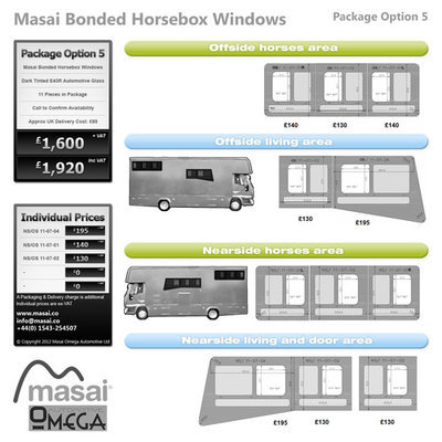 Option 5 Package - Tinted Bonded Horsebox Windows