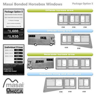Option 5 Package - Tinted Bonded Horsebox Windows