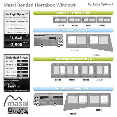 Option 7 Package - Tinted Bonded Horsebox Windows