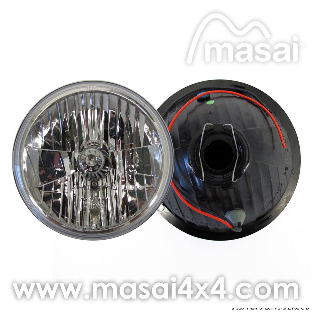 Wipac 7 inch Headlights/Headlamps - H4 Connector - Crystal Freeform and Sidelamp (PAIR)