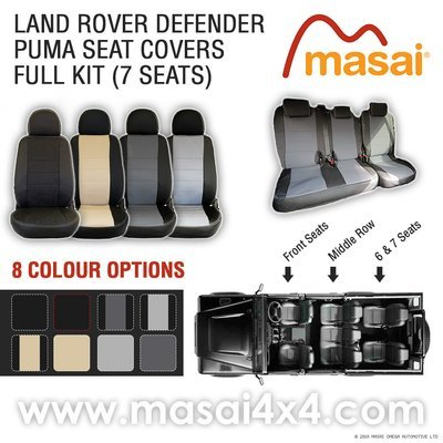Seat Covers for Land Rover Defender Puma/TDCi (2007-2016) DELUXE - FULL KIT (7 Seats)