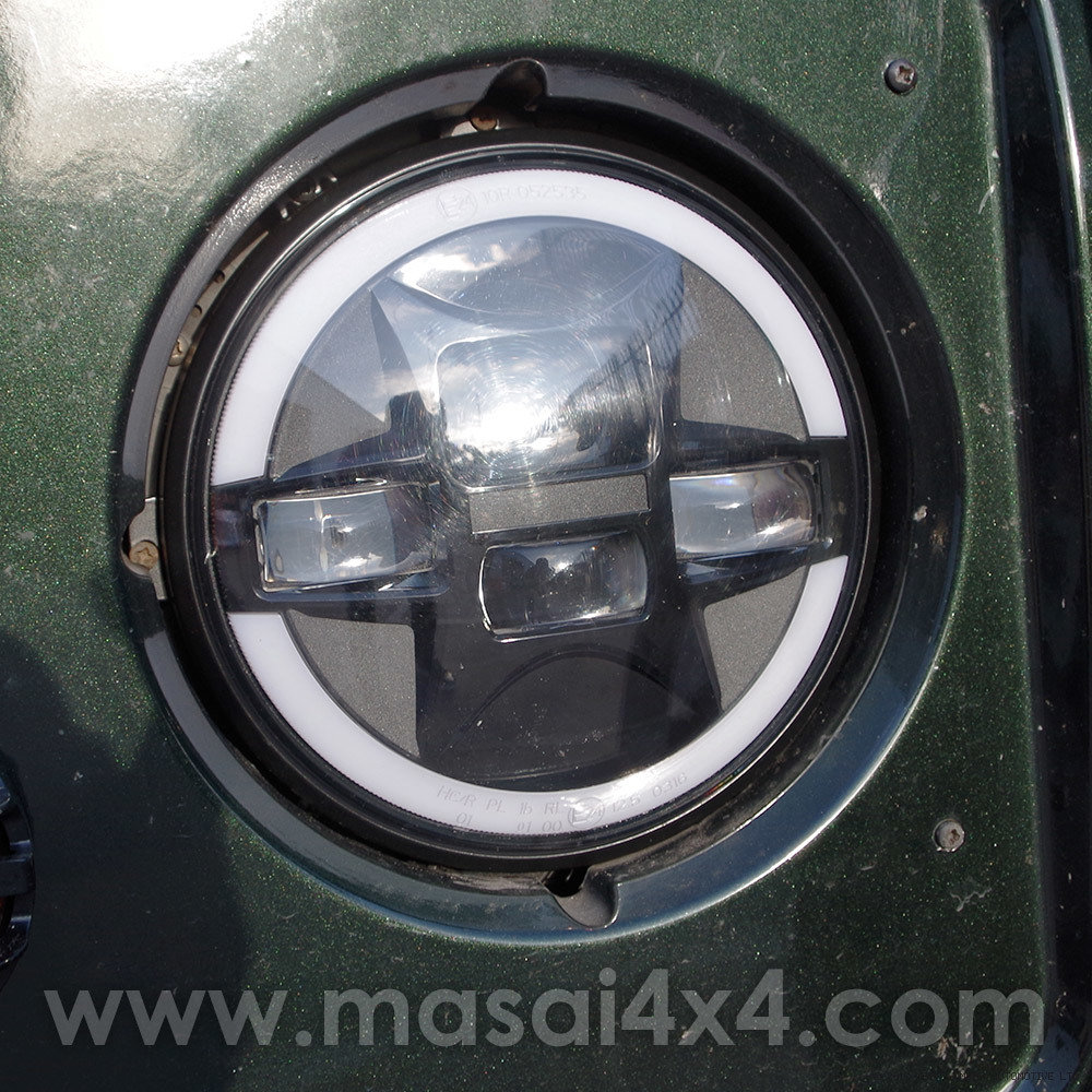 LED ECE 7 inch Headlights/Headlamps H4/H13 Connector (With Halo DRLs) - PAIR