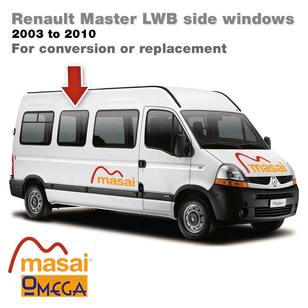 Offside Middle Glass for L3 Renault Master LWB (Pre 5/2010) - Bonded Van Side Windows