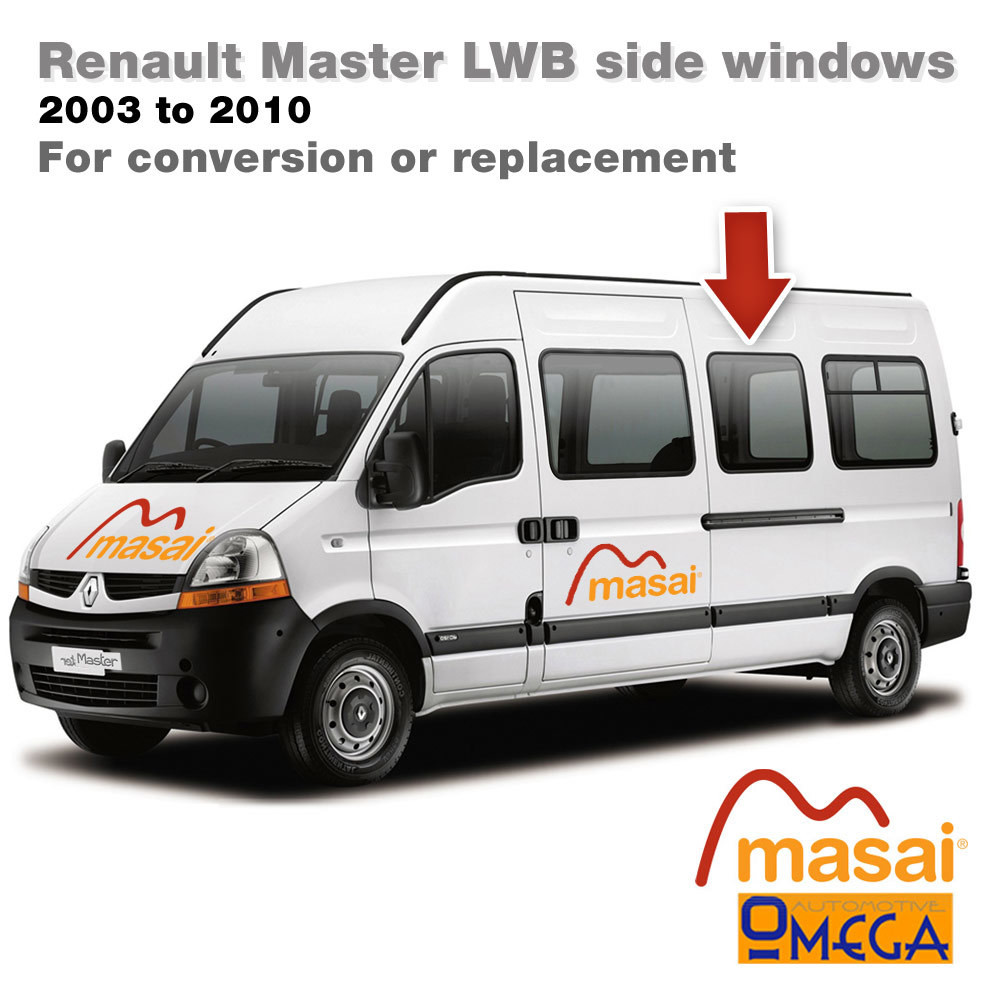 Nearside Middle Glass for L3 Renault Master LWB (Pre 5/2010) - Bonded Van Side Windows