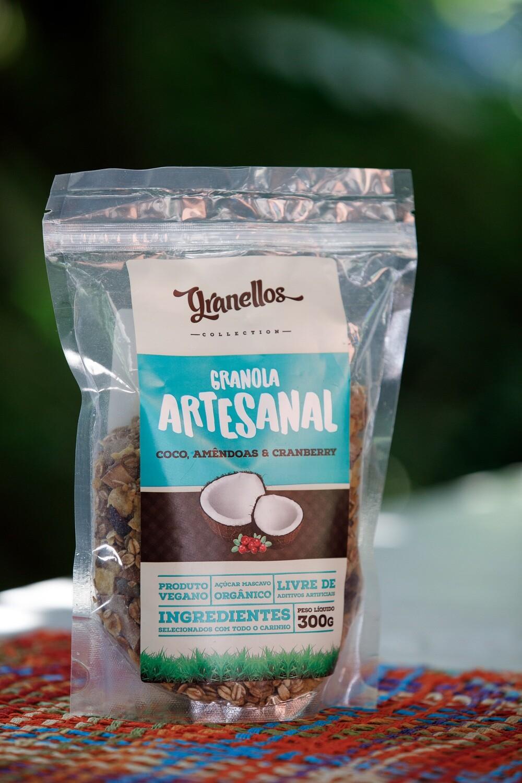 Granola Artesanal – Coco, amêndoas e cranberry – Granellos