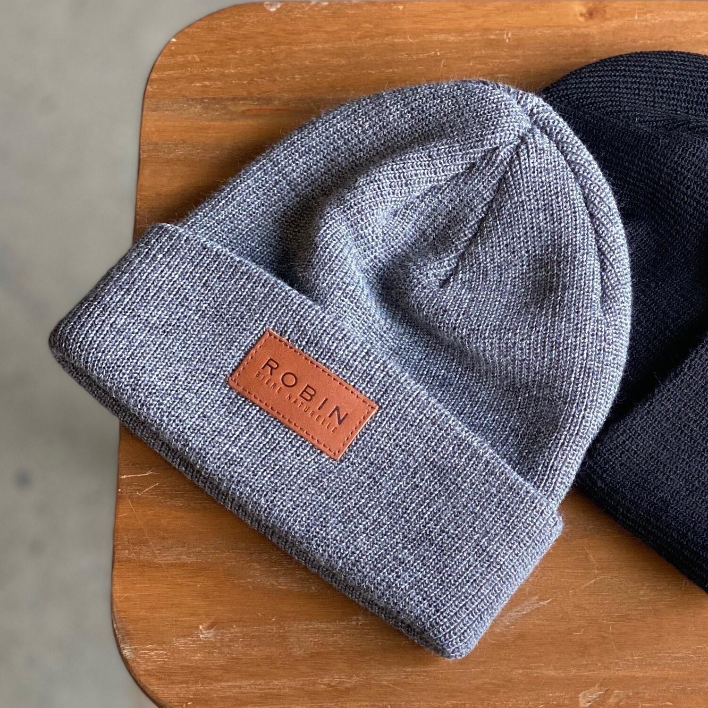 Tuque à rebord côtelé en laine mérinos Robin - Grise