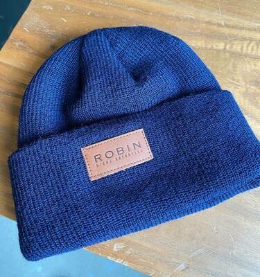 Tuque à rebord côtelé en laine mérinos Robin - Bleu marine