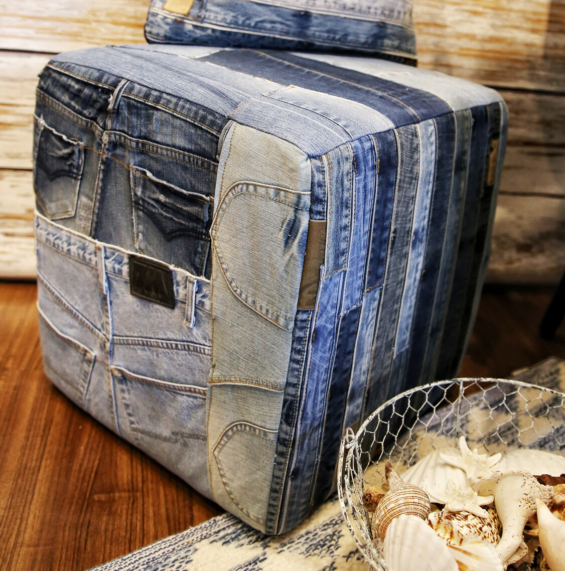 Denim Square Poufs