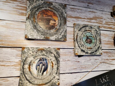 Distressed Tin Square Frames