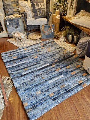 Denim Jean Strip Rug - Two sizes
