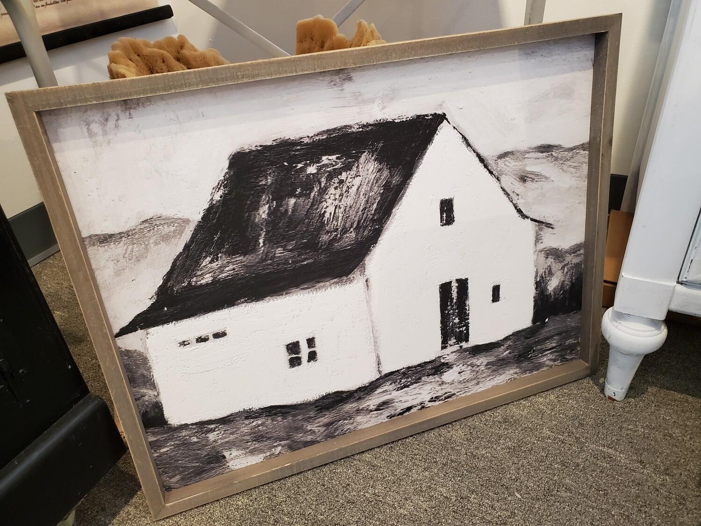 Wood Framed Black & White Barn House Painting