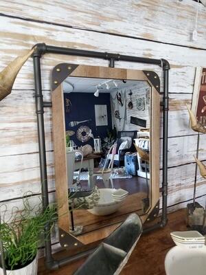Piping & Wood Mirror