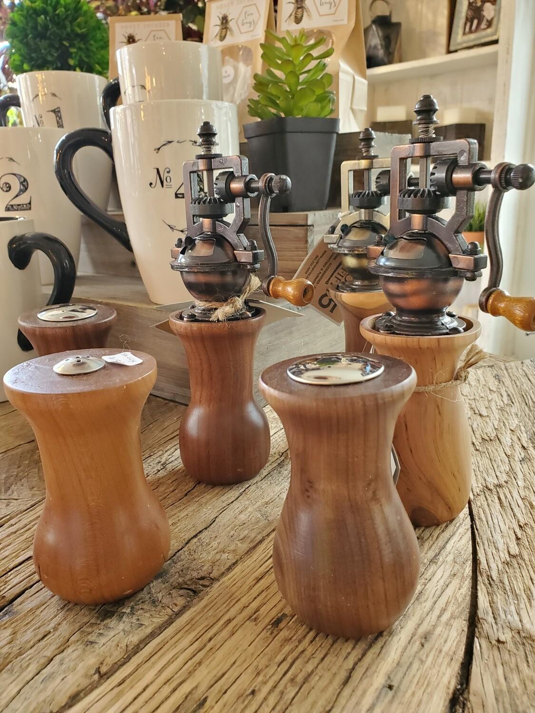 Industrial Wood & Metal Crank Pepper & Salt Shakers